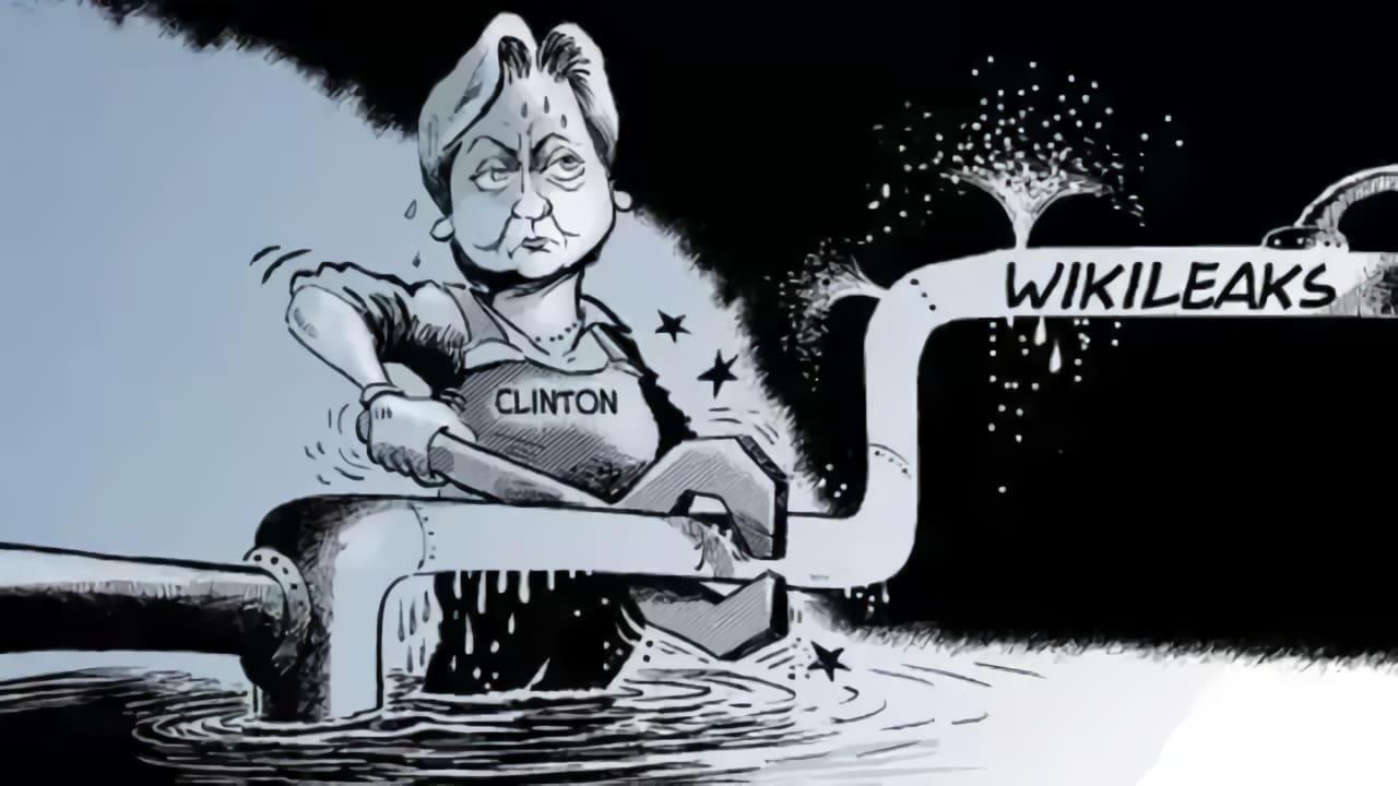 Hillary Clinton under turerna med Julian Assange och Wikileaks